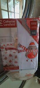 Catherine Lansfield 'Robins' xmas duvet set single bed