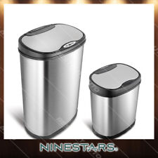 Automatic Touchless Infrared Motion Sensor Stainless Steel Trash Can Combo Set