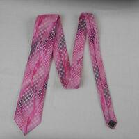 """Bruno Conte Pink Pattern Silk Tie 56"""" 100% Polyester"""