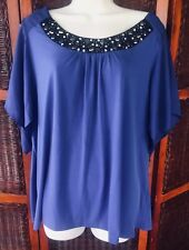 NY COLLECTION WOMENS PLUS SIZE 2X TUNIC TOP WITH BEADED BANDED NECKLINE