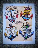 Anchors! Tattoo Flash Art Print | Neo-Traditional / Sailor Jerry