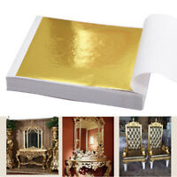 100Pcs Gold Sliver Leaf Sheets for Art Crafts Design Gilding Framing Scrap Decor