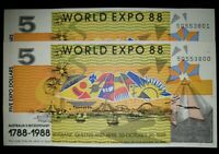World Expo 1988 $5 - 2 of - Uncirulated Consecutive Numbers - Australian History