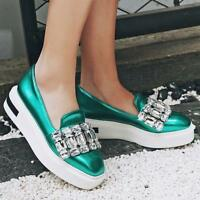 Women Rhinestone Creepers Platform Loafers Slip On Sneaker Casual Wedge Shoes SZ