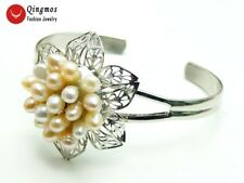 Natural White & Pink Rice Pearl Flower Silver Plate Open Cuff Bracelet Jewelry