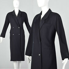 Small Giorgio Armani 1990s Coat Vintage Wool Coat Jacket Black VTG Winter Trench