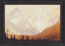 IN THE GLOAMING by Roy Kerswill 24x34 FRAMED PRINT Teepee Tipi Dusk Mountains
