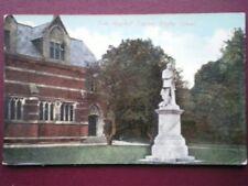 POSTCARD WARWICKSHIRE RUGBY SCHOOL - TOM HUGHES'S STATUE C1905