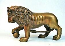 HEAVY BRONZE WATERLOO LION IMPERIAL FIGURINE VINTAGE CLOCK TOPPER STATUE