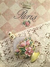 Past Times Victorian Old English Rose Pink and Gold Floral Glass Perfume Bottle