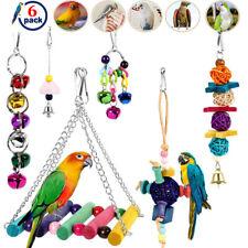 6pcs Bulk Bird Parrot Toys Hanging Bell Pet Cage Hammock Swing Wooden Lot Set Us