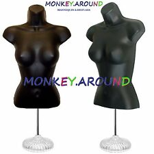 +1 Hanger +1 Stand 1 Female Mannequin Black Body Form Display Woman Dress Shirts