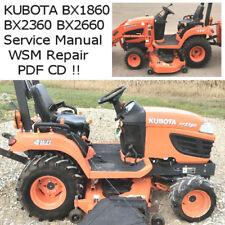 KUBOTA BX1860 BX2360 BX2660 Tractor Service Manual WSM Repair PDF CD 2009 +
