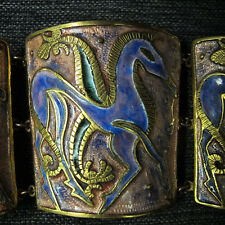 Emaille Armband 50er Jahre , signiert vintage enamel bracelet , unicorn , cuff