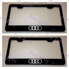 "2X ""AUDI"" Logo Stainless Steel Black License Plate Frame Rust Free W/ Caps"