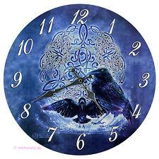 Wanduhr Bilderuhr Uhr Deko - Celtic Raven Raben mit keltischem Zeichen