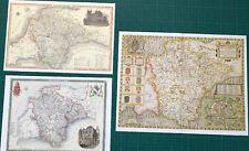 3 x Old Antique Vintage Colour maps of Devon, England: 1600's & 1800's: Reprint