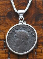 Augustus First Roman Emperor Authentic Coin 925 Sterling Silver Bezel & Chain