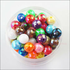 150Pcs Mixed Acrylic Plastic Round Ball AB Facted Spacer Beads Charms DIY 6mm