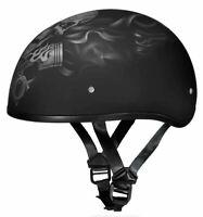 Daytona Skull Cap Pistons Skull Half Helmet Dull Black Quick Release DOT XS-2XL