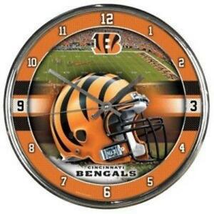 Cincinnati Bengals Chrome Round Wall Clock [NEW] NFL Sign Banner Office Cave