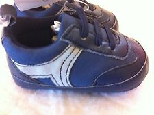 Carter's Blue Gray Sneaker Crib Shoes Elastic Front Size 0-3M NWT