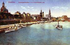 alte Ansichtskarte Dresden Landungsbrücken von der Carolabrücke aus