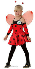 Girls Kids Lady Bird Ladybird Red Bug Dress Wings Headband Armlets Costume 3-5