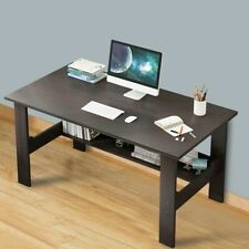 Home Office Corner Desk Wood Top PC Laptop Table WorkStation Furniture Black US