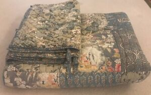 NICE Pottery Barn Neena Floral Patchwork King Quilt Coverlet 3 Standard Shams