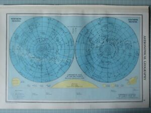 1952 MAP ~ ASTRONOMY CONSTELLATIONS NORTHERN & SOUTHERN HEAVENS PLANET SIZE