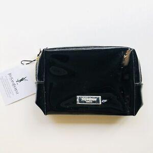 """YSL Yves Saint Laurent Logo Makeup Bag Zip Clutch in Black 4.5 x 5.75 x 2"""""""