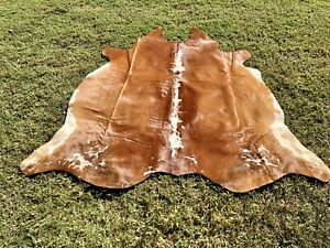 Large Cowhide Rugs Brown Leather Real Hair on Cow Hide Skin Area Rug 6 x 5.5 ft