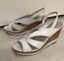 IMPO Strappy Cork Platform Wedge WHITE Sandals Size 11