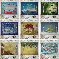 LN_ CHRISTMAS BELL LINEN INSULATION PLACEMAT DINING TABLE MAT KITCHEN DECOR FA