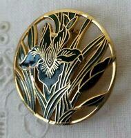 VINTAGE Art Nouveau 1980s Cloisonne Enamel Iris Flower Gold Tone Pin Brooch
