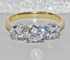 BEAUTIFUL 9 CT YELLOW GOLD & SILVER 1.75 CARAT 3 STONE ENGAGEMENT RING - size N