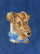 Large vintage needlepoint tapestry of a Jack Russell terrier dog
