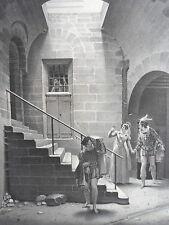 GRAVURE d'aprés DESTOUCHES MARIE STUART à LOCHLEVEN XIXéme siécle
