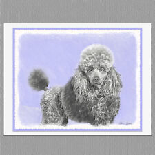 6 Poodle Dog Blank Art Note Greeting Cards