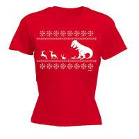 Christmas LUNCH T-Rex WOMENS T-SHIRT xmas dinosaur santa xmas x-mas gift