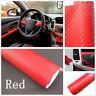 """🔥 12 X 50"""" Red 3D Carbon Fiber Vinyl Car Wrap Sheet Roll Film DIY Sticker Decal"""