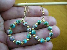 beaded gemstone hoop dangle circle earrings (Ee-801-9) Aqua Blue cloisonne 6 mm