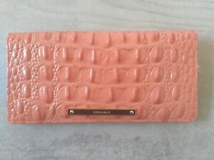 New Brahmin Melbourne Ady croc embossed leather bifold wallet Coral