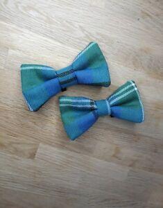 Handmade Oliphant Tartan Plaid Green/Blue Dog Bow Tie (Size Large)