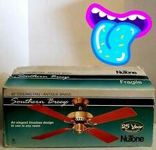 🔥 Southern Breeze 44 Ceiling Fan Antique Brass NuTone OPEN BOX FAST SHIP! L👀K!