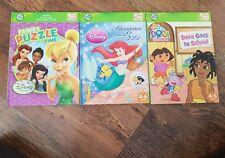 3x LeapFrog Tag Reading System books Fairies Puzzle, Adventures, Dora