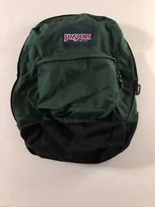Vintage JANSPORT made in USA Black Bottom Forest Green Backpack 1990s Classic