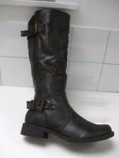 Ladies LILLEY & SKINNER brown biker knee high BOOTS size UK 8 41 military riding
