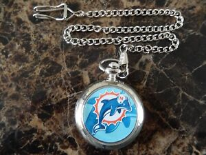 MIAMI DOLPHINS CHROME POCKET WATCH WITH CHAIN (NEW)